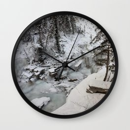 Entrance to Maligne Canyon Icewalk, Jasper National Park Wall Clock