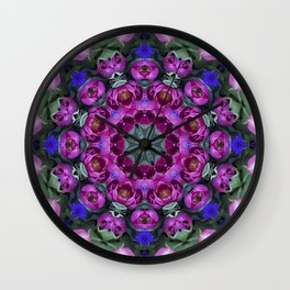 Floral finery - kaleidoscope of blue, plum, rose and green 1650 Wall Clock