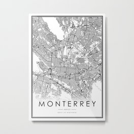 Monterrey City Map Mexico White and Black Metal Print