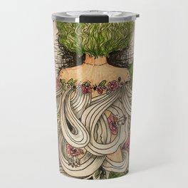 green curly hair girl green leaves floral theme Travel Mug