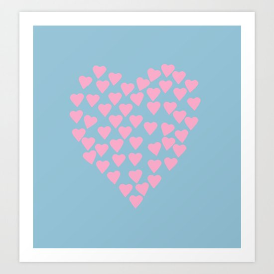 Hearts Heart Pink on Blue Art Print