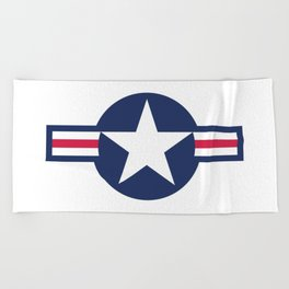 US Airforce style roundel star - High Quality image Beach Towel