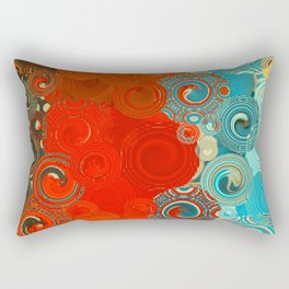 Turquoise and Red Swirls Rectangular Pillow