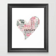 Shakespeare's Romeo and Juliet Heart Framed Art Print