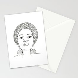 Beautiful Afro woman with earrings Stationery Cards