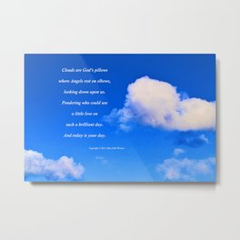 """""""Clouds #57"""" with poem: God's Pillows Metal Print"""