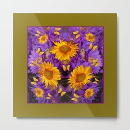 YELLOW BUTTERFLY SWARM LILAC-KHAKI COLOR Metal Print