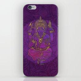 Ganesha hindu god watercolor gold purple art iPhone Skin