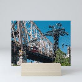 Queensboro bridge and tramway of Manhattan midtown on Roosevelt Island Mini Art Print