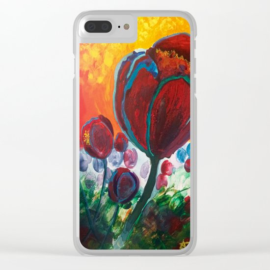 Blue High Poppies on Fire Clear iPhone Case