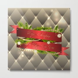 Christmas illustration with red ribbon and decorative elements Metal Print