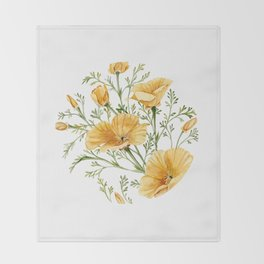 California Poppies - Watercolor Painting Throw Blanket