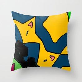 Navy Gold Doodle Throw Pillow