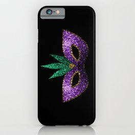 Mardi Gras Mask Purple Green Gold Sparkles iPhone Case