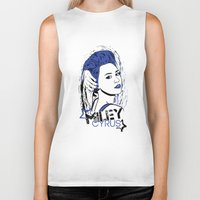 miley cyrus Biker Tanks featuring Miley Cyrus by Becky Doyon