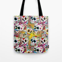 sugar skulls Tote Bags featuring Sugar Skulls by Spooky Dooky