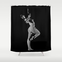 0443s-MM Black and White Zebra Striped Art Nude Figure on Black Shower Curtain
