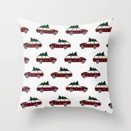 Christmas station wagon estate car holiday winter vacation vintage cars Throw Pillow