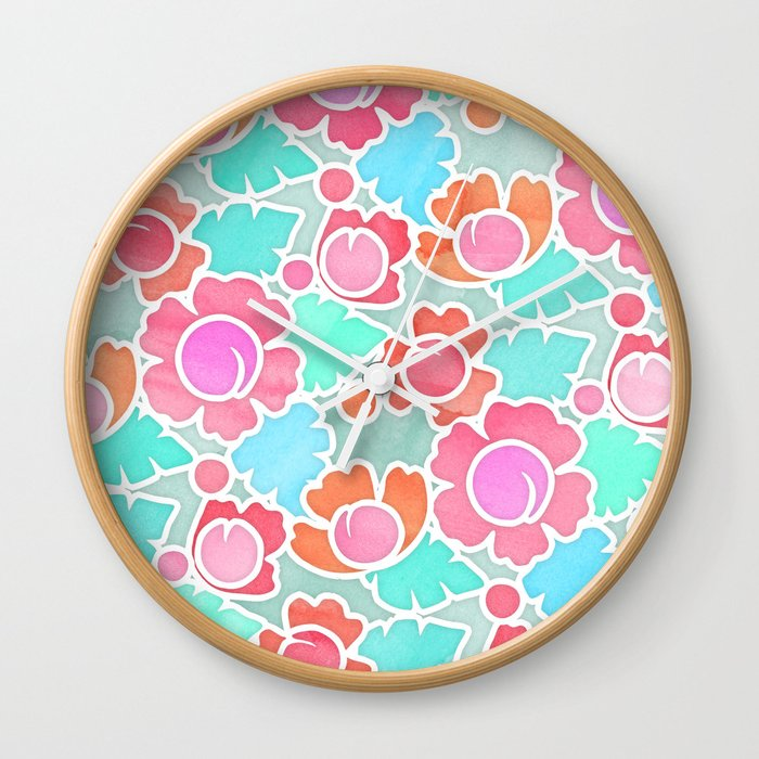 Pastel Tropical Floral Pattern Design with watercolor texture Wall Clock