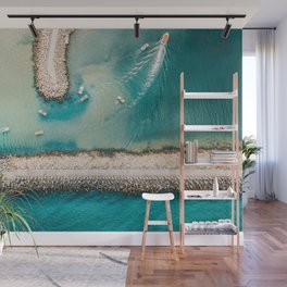 I Need The Sea Because It Teaches Me, Aerial Beach Home Print | Ocean Wall Art | Sea Large Print Wall Mural