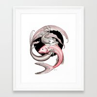 swimming Framed Art Prints featuring Swimming by Steak and Unicorns