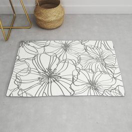 Line Art, Floral Prints, Charcoal and White, Minimalist Art Rug