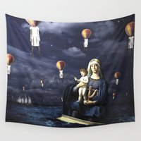 madonna Wall Tapestries featuring Madonna with Child (on the high sea)  by Luca Grs