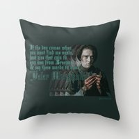arya Throw Pillows featuring Arya Stark, Valar Morghulis by Your Friend Elle