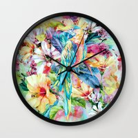parrot Wall Clocks featuring PARROT by RIZA PEKER