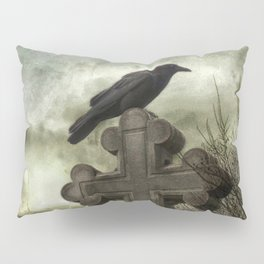 Gothic Crow Perched On A Old Cross Pillow Sham