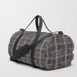 Plaid tartan black, grey. Duffle Bag