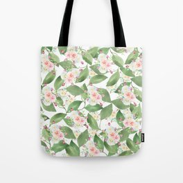 Country chic pink teal green watercolor floral Tote Bag