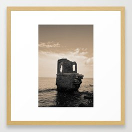 Kap Arkona Sea Ruins Black and White Framed Art Print