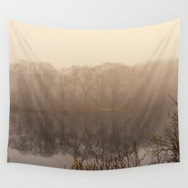 Foggy springtime Reflections Wall Tapestry