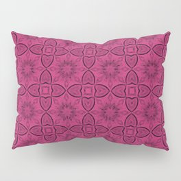 Pink Yarrow Flowers and Hearts Pillow Sham