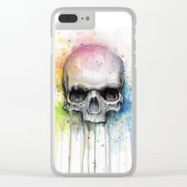 Skull Rainbow Watercolor Clear iPhone Case