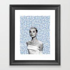 audrey - blue calligraphy background Framed Art Print