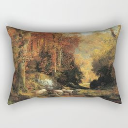 Cresheim Glen Wissahickon Autumn 1864 1 By Thomas Moran | Daytime Hike Watercolor Reproduction Rectangular Pillow