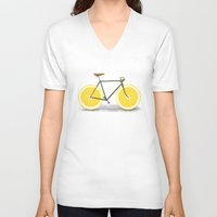 bicycle V-neck T-shirts featuring Zest by Florent Bodart / Speakerine