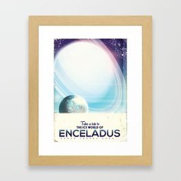 Enceladus Space Corp. Vacation poster Framed Art Print