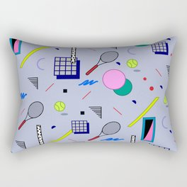 Seamless colorful pattern in retro style on grey background with tennis ball and tennis racket Rectangular Pillow