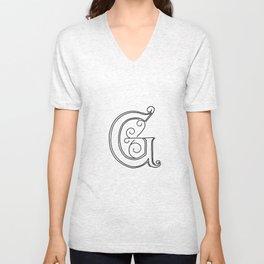 G - Letter Collection White Unisex V-Neck