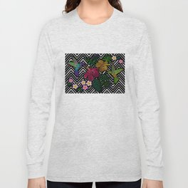 Hummingbird around flower plumeria hibiscus Frangipani exotic  Embroidery Long Sleeve T-shirt