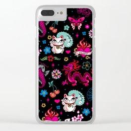 Lucky Cat Maneki Neko , Dragons and Koi fish Clear iPhone Case