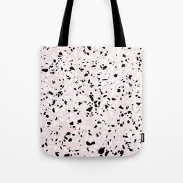 'Speckle Party' Blush Pink Black White Dots Speckle Terrazzo Pattern Tote Bag