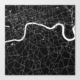 London Black on White Street Map Canvas Print
