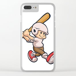 cartoon boy playing Clear iPhone Case