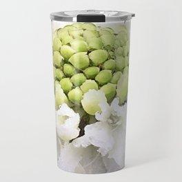 White scabiosa flower with raindrops Travel Mug