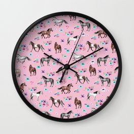 Horses & Flowers, Pink Pattern, Horse Illustration, Little Girls Room, Watercolor Wall Clock