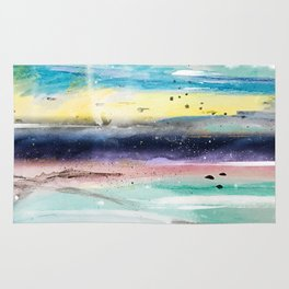 Summer watercolor abstract art design Rug